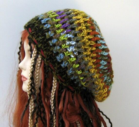 Funky Patchwork hippie dread tam slouchy beanie hat dreadlocks