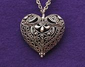 Necklace - Antiqued Sterling Silver Filigree Heart with Sterling Silver Necklace, 28 inches
