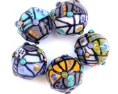 City Map - Round Lampwork Glass Bead Set in Grey, Turquoise, Orange, Olive and Black (5)