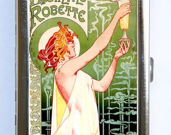 Absinthe Poster Cigarette Case Wallet Business Card Holder vintage art nouveau