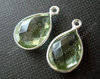 2 pcs 12mm Tear Drop Bezel Green Amethyst Hydro Charm Drop Sterling Silver F382S
