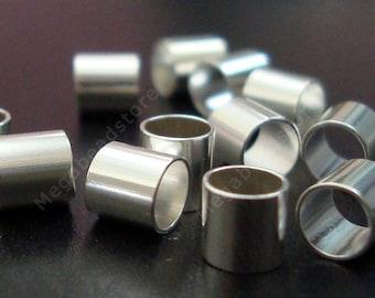 100 pcs 4mm Crimp Tubes 925 Sterling Silver Crimp Beads 4 x 4 mm F32