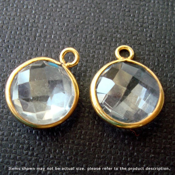 2 pcs 10mm Crystal Clear Quartz Gold Bezel Gemstone Charm F383