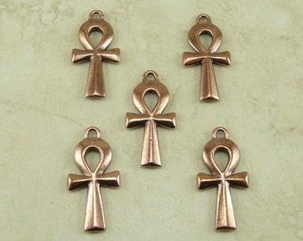 5 Large TierraCast Egyptian Ankh Charm Pendant > King Tutt Cross Key - Copper Plated Lead Free Pewter - I ship Internationally 2295