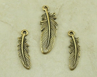 TierraCast Feather Pendant and Charm Mix 3 Pieces - Bird Crow Eagle Indian - 22kt Gold Plated Lead Free Pewter - I ship Internationally