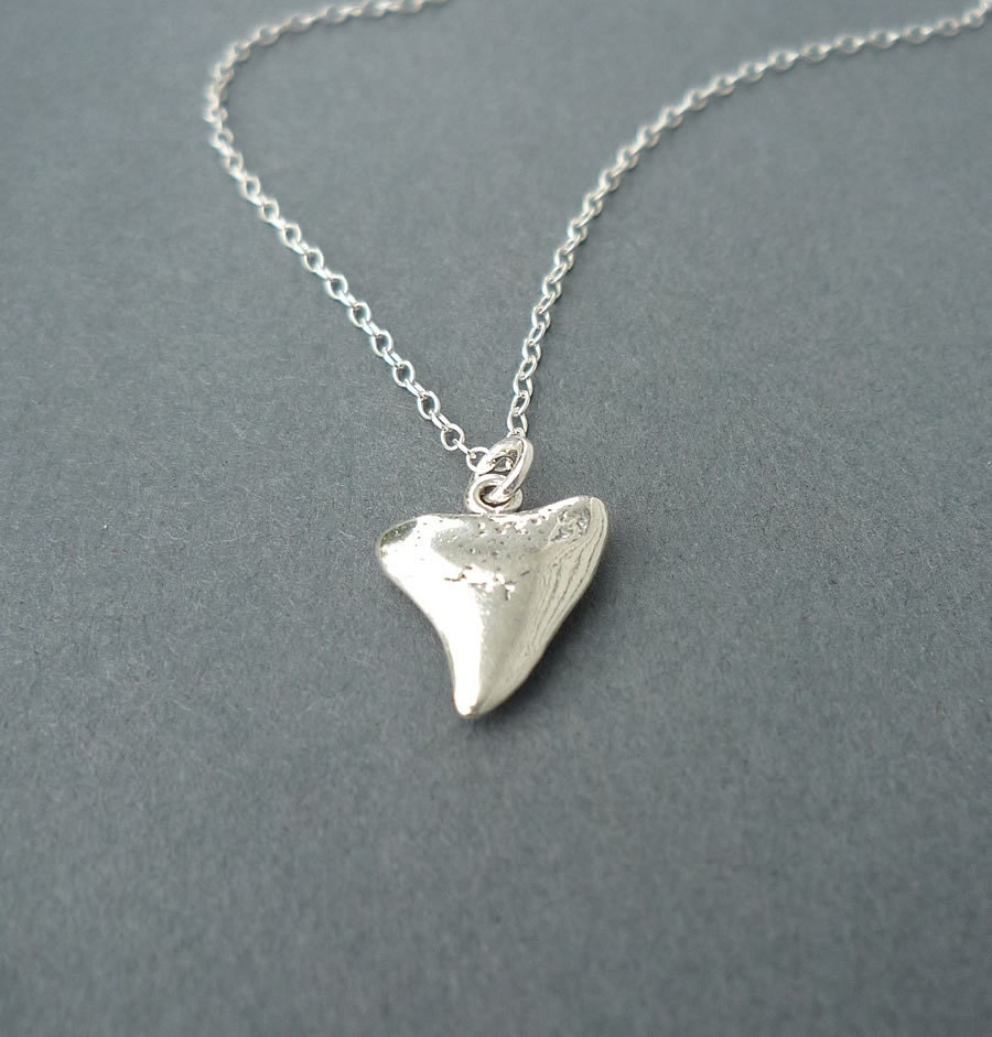 sterling silver shark tooth necklace charm necklace shark