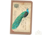 Peacock French Vintage Postcard Pocket Notebook The Peacock Moleskine Cahier