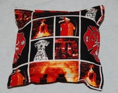 Fire rescue themed squeaky plush pillow dog toy