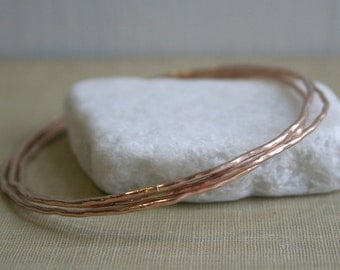 14K Rose Gold Fill Bangles Set of 3- Rustic Gypsy Bangles