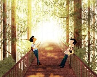 "UCSC, Santa Cruz Art, Redwood Tree Art, Wall Decor - ""We met in college"""