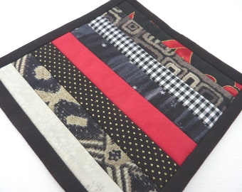 Mini Mug Quilt - Patchwork Coaster in Black, Red and Grey / Gray Stripes