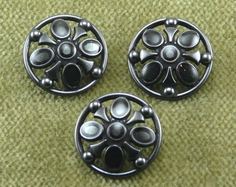 Domed Black Metal Shield Button Openwork D27