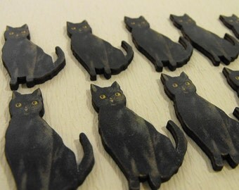 10 Wooden Black Cats