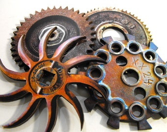 Big Rusty Greasy Wooden Gears - Laser Cut Wood Cuts