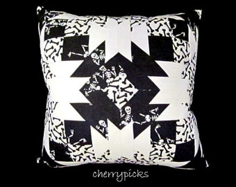 Skeleton Dia De Los Muertos Day of the Dead Quilted Pillow