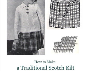 Traditional Scottish Kilt Children Vintage Sewing Pattern pdf Skirt Plaid