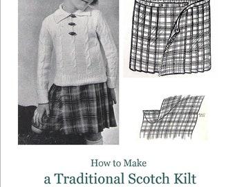 Traditional Scottish Kilt Children Vintage Sewing Pattern pdf Skirt Plaid