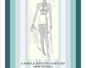 Bra and Trunks Simple Bikini  Bathing Suit 1930s Vintage Knitting Pattern PDF INSTANT DOWNLOAD