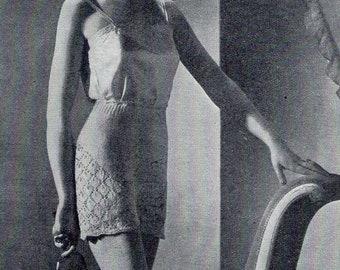 1940s Vintage Panties Lace Knickers Knitting Pattern pdf pattern 28 inch waist