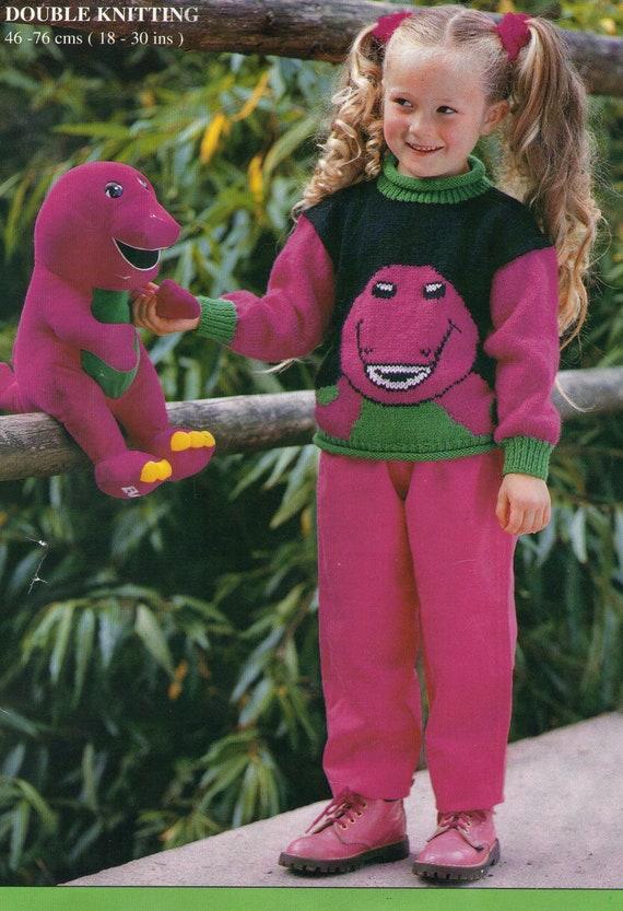 Barney Dinosaur Sweater Vintage Knitting by PamoolahVintage