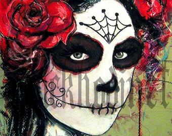 "Print 8x10"" - Day of the Dead Senorita 2 - portrait dia de los muertos mexican holiday death rosese flowers dark art lowbrow spiders"