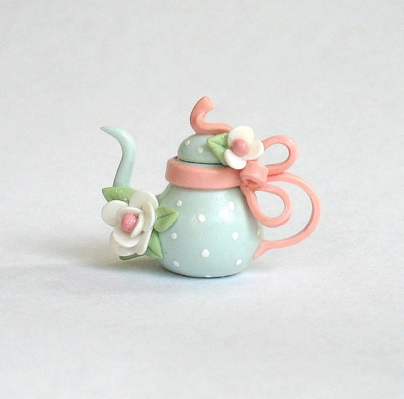Miniature Polka Dot Bow Handle Teapot  OOAK by C. Rohal