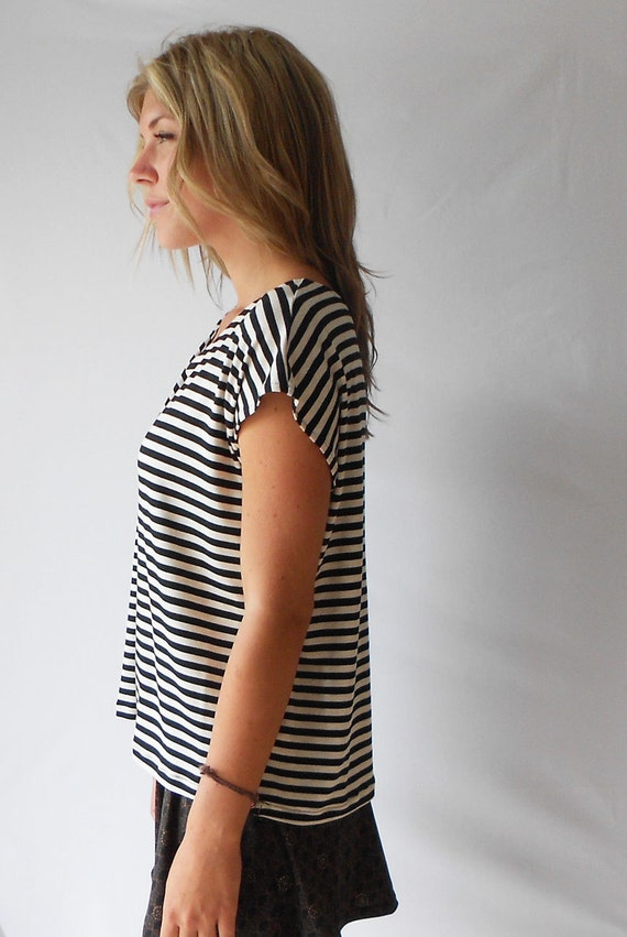 Slouch t-shirt, Box tee - Black and oatmeal stripe -  One size