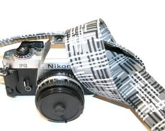 Camera Strap - Black Grey Woven Textile Print - SLR, DSLR