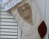 Large Christmas Stocking Cottage Chic Upcycled and Vintage Materials