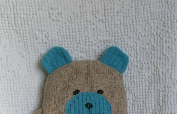 Upcycled Wool and Angora Sweater Wooly Bear Plush Brown