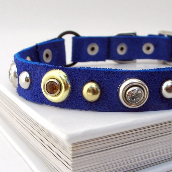 Blue Suede Leather Cat Collar with Silver & Gold Accents, Size XS/S, to fit a 8-10in Neck, OOAK