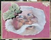 Vintage Style Christmas Card with Old World Santa