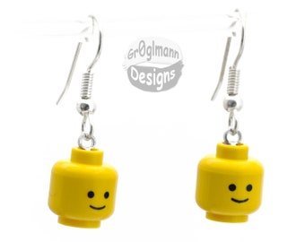 Smiley Dangle Drop Earrings - made with LEGO bricks