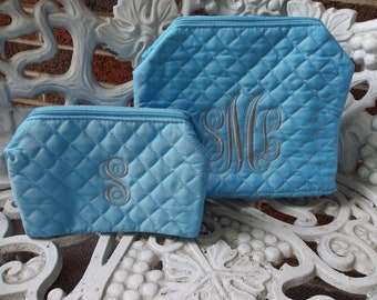 SALE - Personalized Quilted Cosmetic Bag Set - Light Blue - CUSTOM