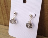Wire wrapped gray faceted crystal earrings