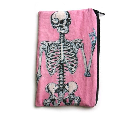 Pink Anatomical Skeleton Makeup Bag