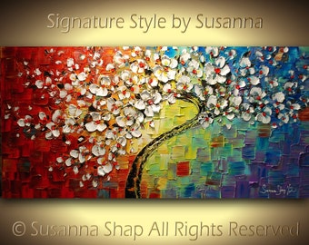 ORIGINAL Large Tree Painting Multicolor White Cherry Blossom Impasto Landscape by Susanna 48x24 Ready to Hang Made2Order
