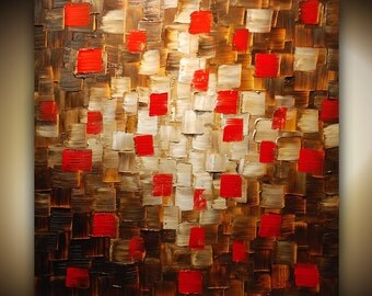 Original Large Abstract Painting Textured Red Brown Painting 30x30 Canvas by Susanna Made2Order