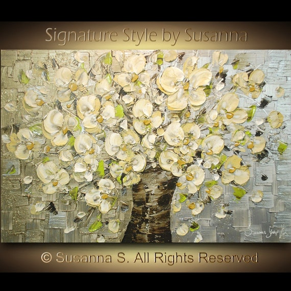 ORIGINAL Large White Flowers Oil Painting Abstract Contemporary Bouquet in Vase Heavy Impasto Texture by Susanna Ready to Hang 36x24