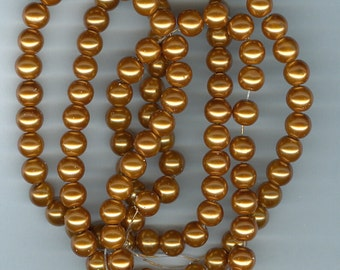 8mm Dark Golden Glass Pearl Round Beads