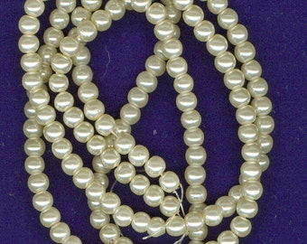 6mm Cream Beige Glass Pearl Round Spacer Beads Cream Bead Spacers