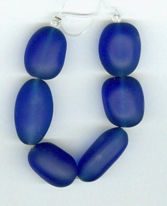 Sea Glass Nugget Royal Blue Set of 6