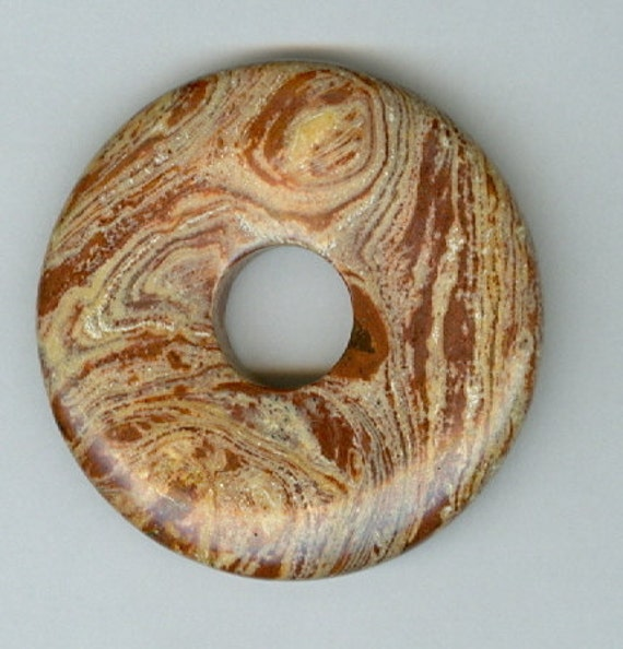 45mm Brown and Cream Swirly PI Donut Pendant