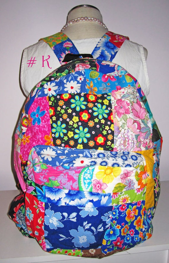 Backpack Patchwork, BOHO, Hippie, Vintage Inspired, Upcycled cotton with denim lining. Monogrammed or Personalized