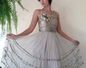 20's Gold Metallic Lame Net Tulle Lace Up Back  Dress S