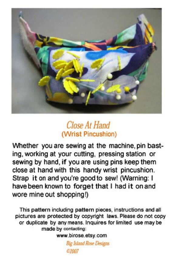 PDF Pattern for Sew Close at Hand Wrist Adjustable  Pincushion DIY