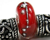 Charm Bead Handmade Large Hole Lampwork Glass Bracelet Slider Red Silver Encased SRA