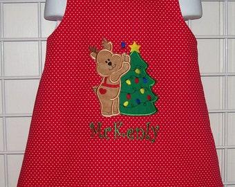 Red Polka Dot Reindeer Decorating Christmas Tree Applique Monogam A-line Dress