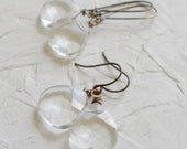 Crystal Clear Swarovski Antique Brass Earrings