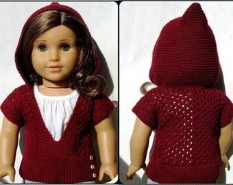 "Mae Hooded Pullover Sweater - PDF Knitting Pattern For 18"" American Girl Dolls - Doll Clothes Knitting Pattern - Instant Download"